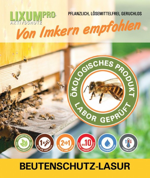 Lixum Pro Beutenschutz Lasur Bienenbeute - Anstrich für 10 Beuten DN